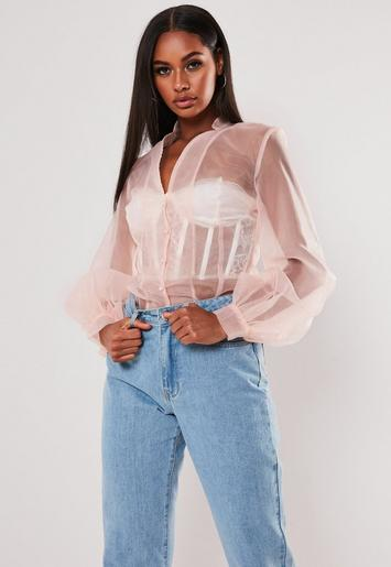 Nude Organza Balloon Sleeve Button Front Top by Missguided