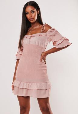 Миниатюрное платье-молочница с оборками и рукавами Nude