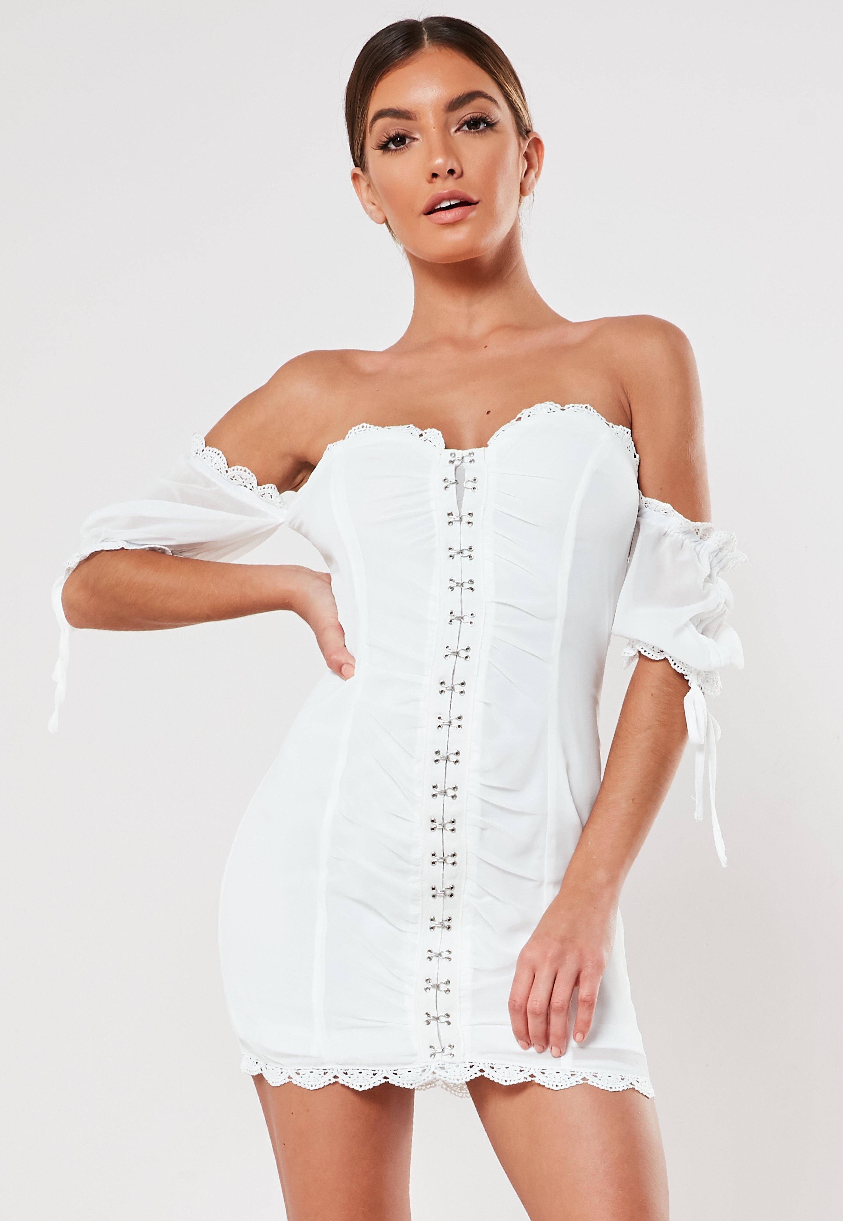 a5e3c57d5fa4d White Bardot Lace Up Front Ruched Mini Dress