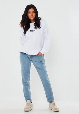 Niebieskie ci??owe jeansy Riot z elastycznym pasem na brzuch