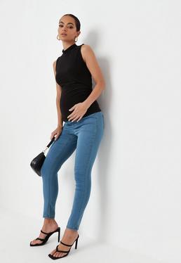 Ciemnoniebieskie ci??owe jeansy Vice z elastycznym pasem na brzuch