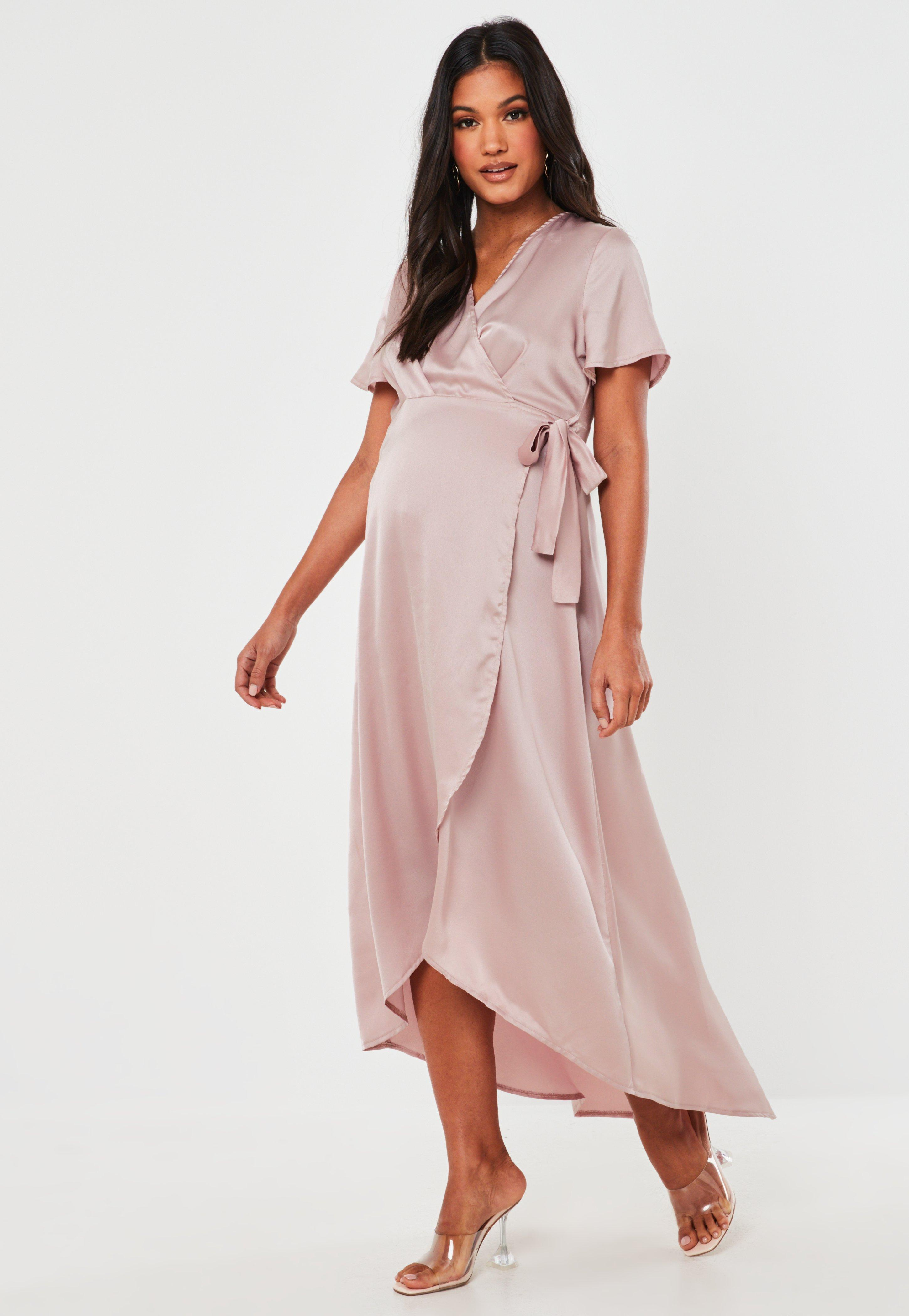 Pink Satin Wrap High Low Maternity Maxi Dress Missguided