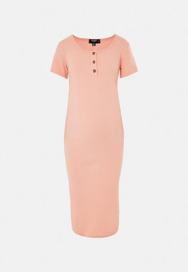 peach rib button front maternity t shirt dress