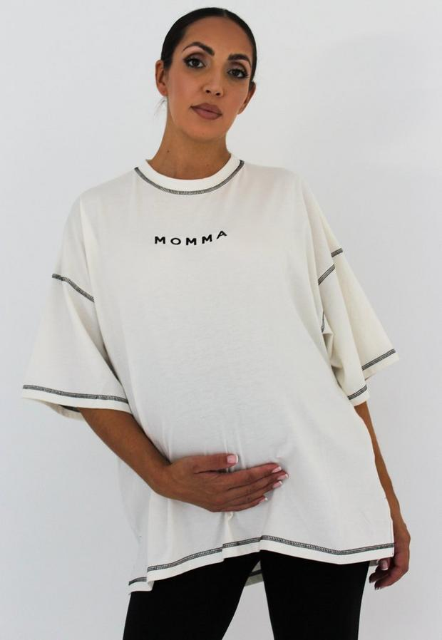 white momma embroidered maternity t shirt