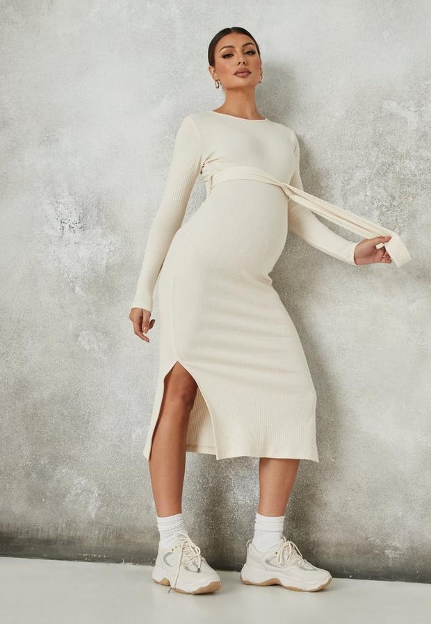 stone rib belted side split maternity dress