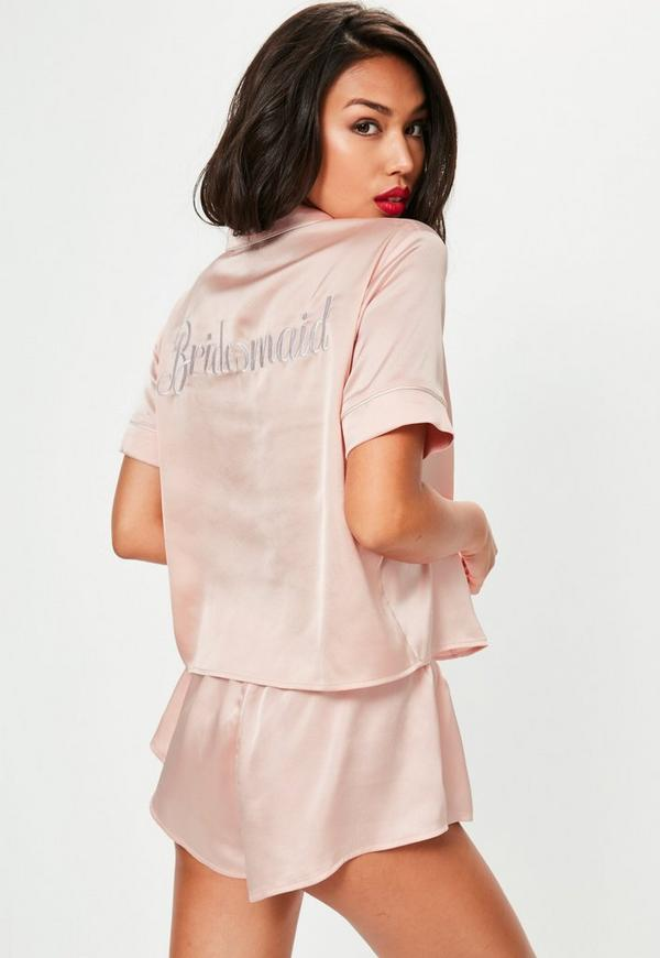 Pink Satin Bride Piped Short Pajamas Set Missguided