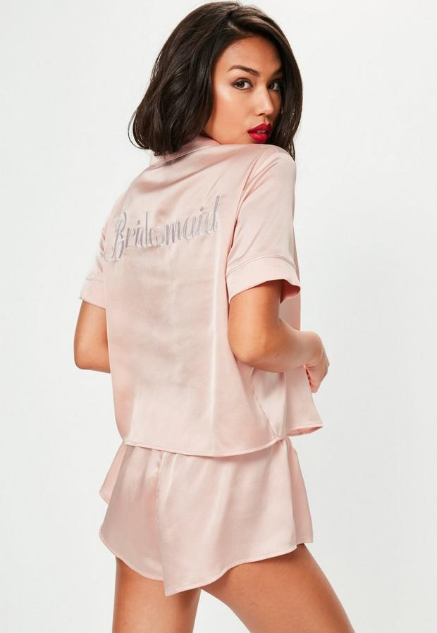Missguided - Satin Bridesmaid Piped Short Pyjama Set - 1