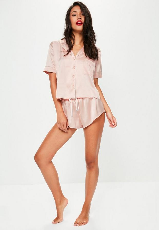 Missguided - Satin Bridesmaid Piped Short Pyjama Set - 3