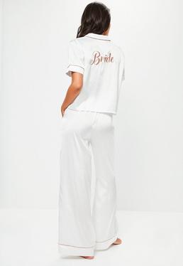 Kurz-Ärmel Pyjama Set mit Bride Stickerei und Paspelierungen und langen Beinen in Weiß