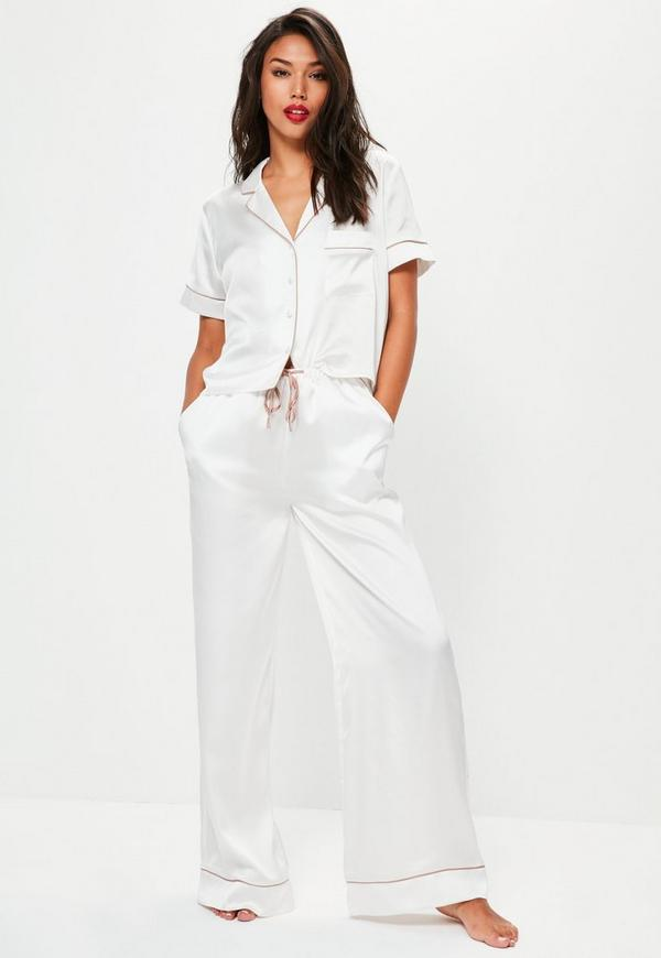 white satin bride piped pyjama set missguided