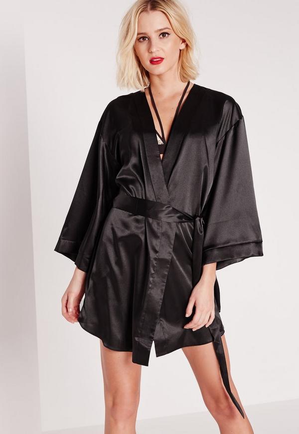 robe de chambre effet satin noir manches kimono missguided. Black Bedroom Furniture Sets. Home Design Ideas
