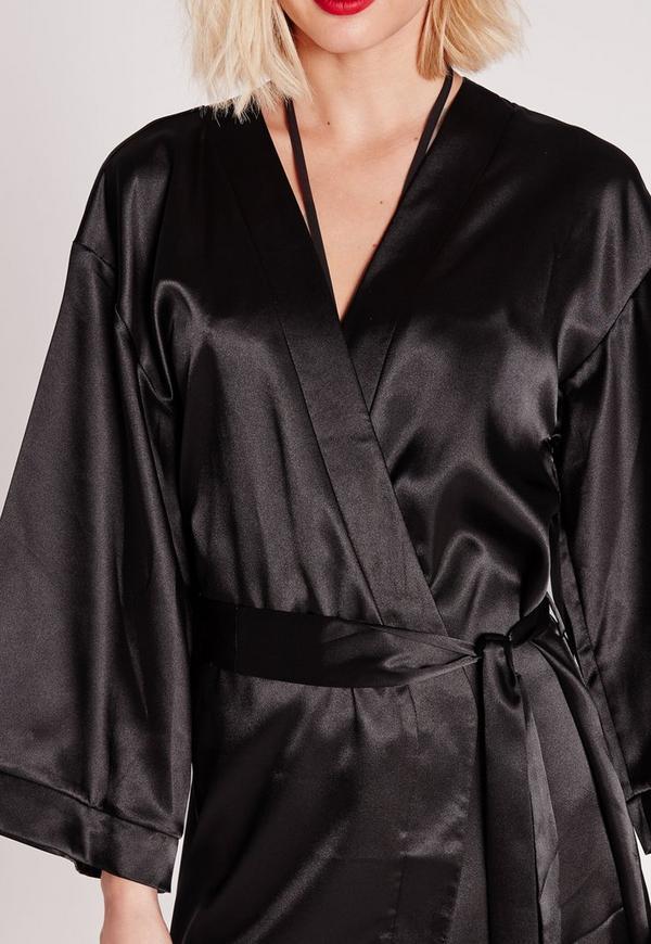 Kimono Sleeve Satin Dressing Gown Black | Missguided
