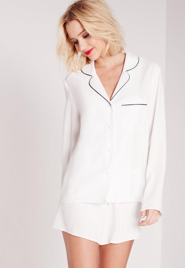 Contrast Piping Pyjama Set White