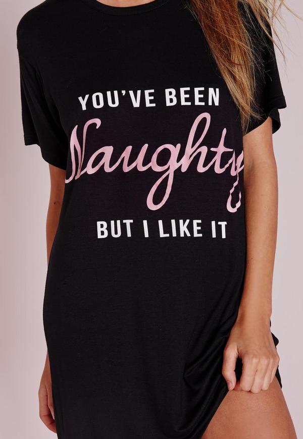 Naughty Slogan Night Dress Black Missguided