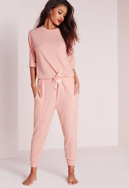 Ribbed Slouch Pajama Jumpsuit Nude