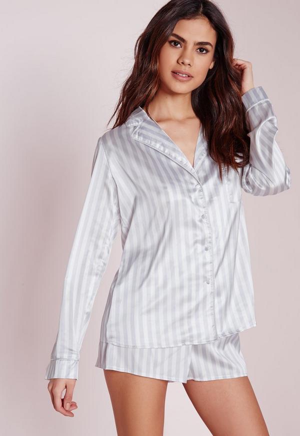 Long Nightshirt Striped Pyjama Set Grey