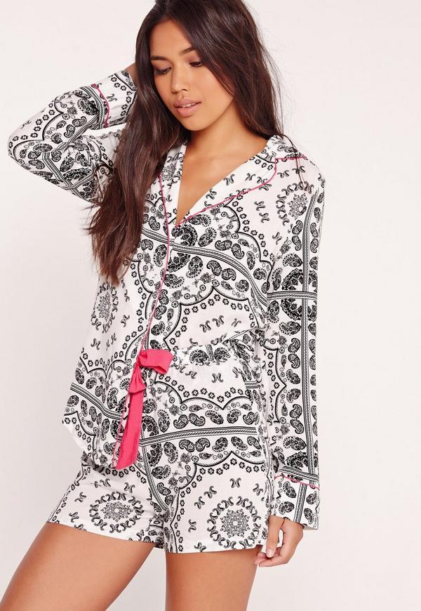 Paisley Print Pyjama Set White