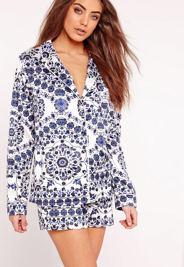Porcelain Print Pyjama Set Blue
