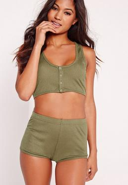 Ribbed Night Co-Ord Set Khaki