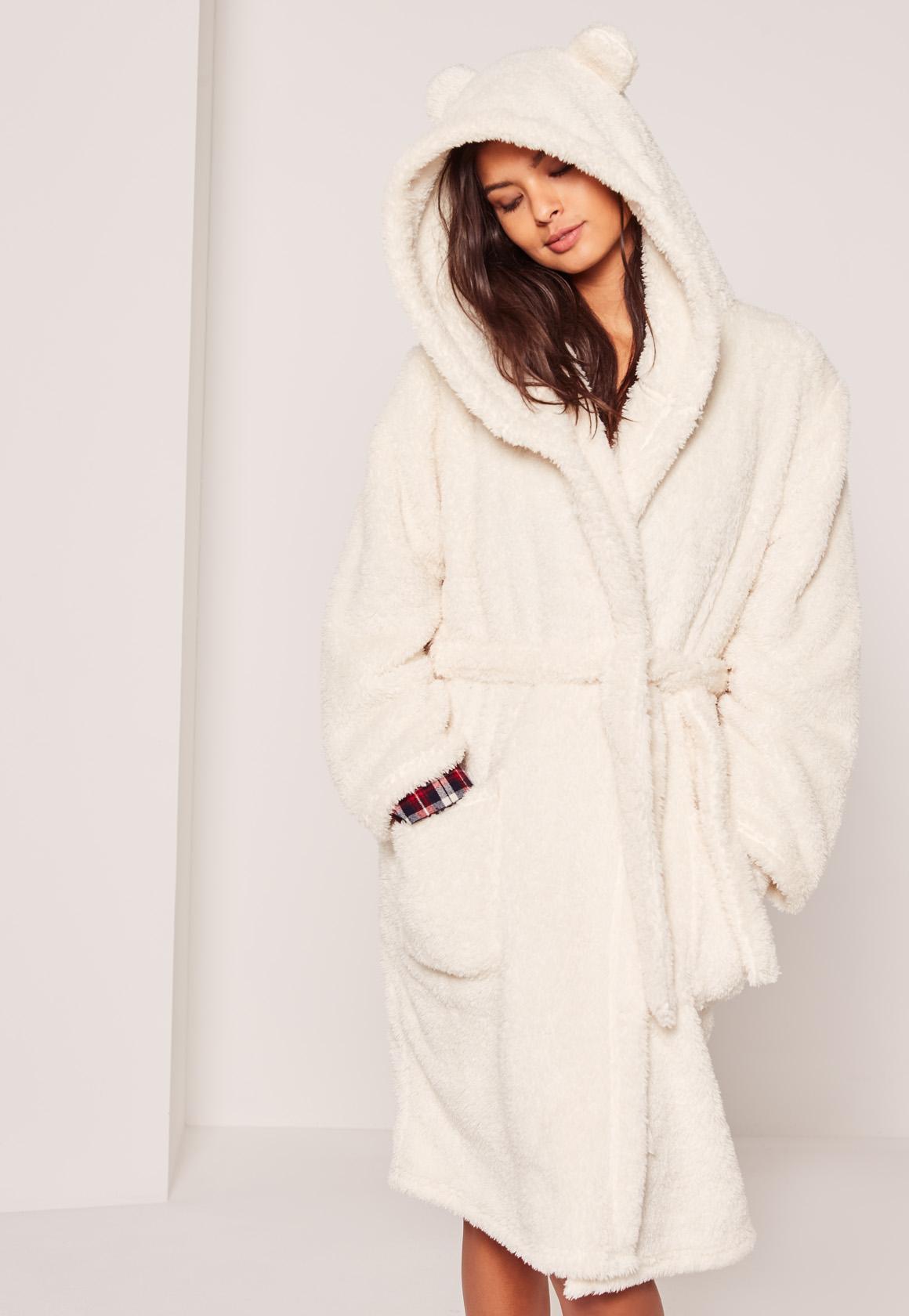 White Soft Fleece Ear Teddy Dressing Gown