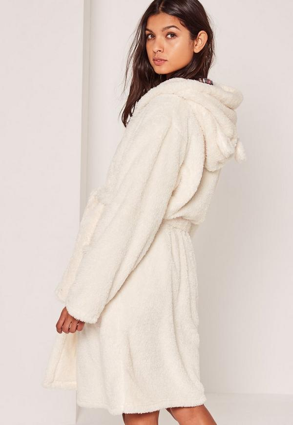 White Soft Fleece Ear Teddy Dressing Gown | Missguided