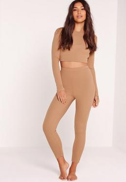 Ribbed Pyjama Set Camel