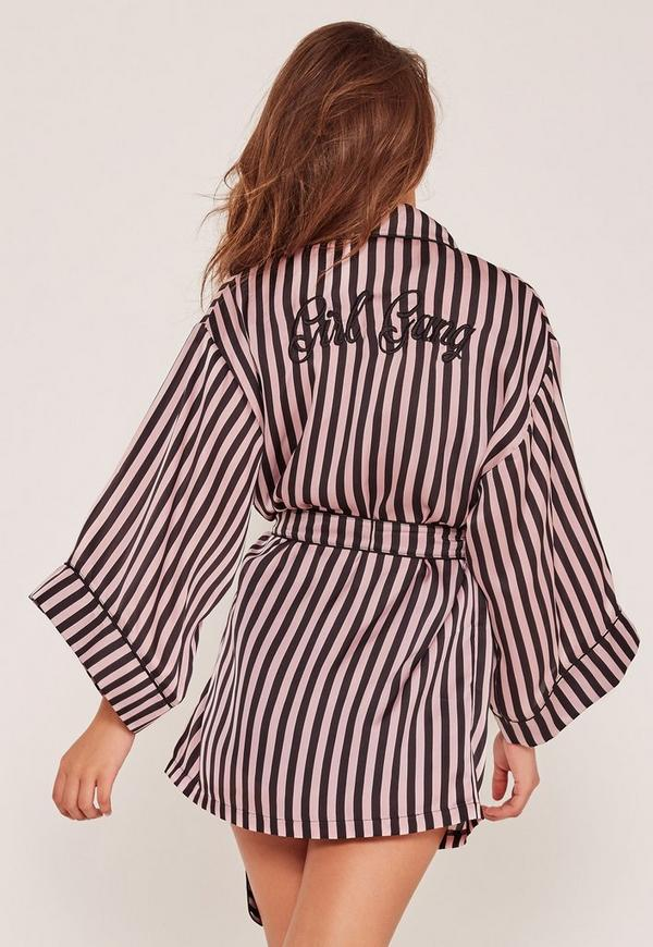 Girl Gang Silk Robe Black And Pink