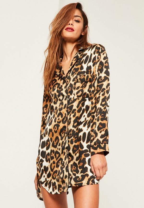 Brown Leopard Print Night Shirt