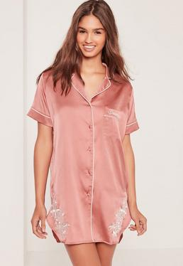 Floral Embroidery Night Shirt Pink