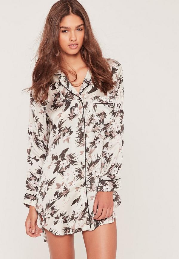 Nude Floral Print Night Shirt