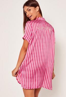 Striped Slogan Nightshirt Pink