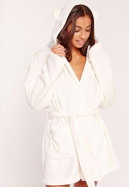 Soft Fleece Dressing Gown With Ears Cream