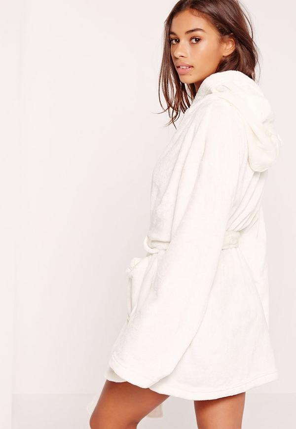 Soft Fleece Dressing Gown With Ears Cream | Missguided