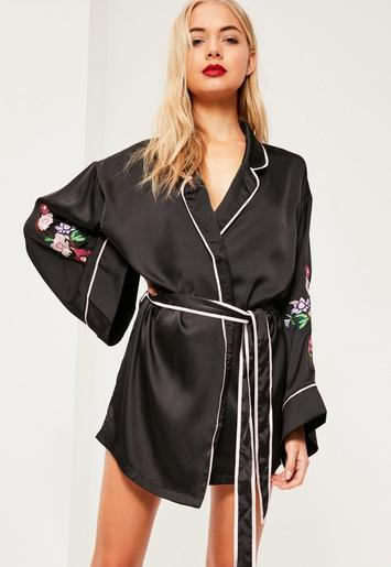 black luxury satin floral embroidery silk robe missguided