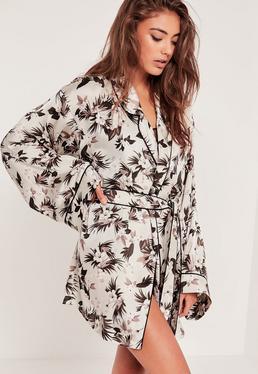 Nude Floral Print Silk Robe