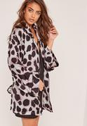 Animal Print Silk Robe