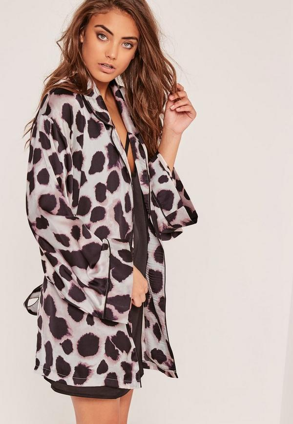 Animal Print Silk Robe