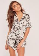 Nude Floral Print Pajama Set