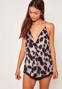 Animal Print Lace Trim Playsuit Multi