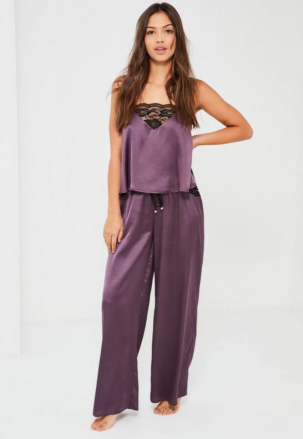 Purple Lace Trim Pyjama Set