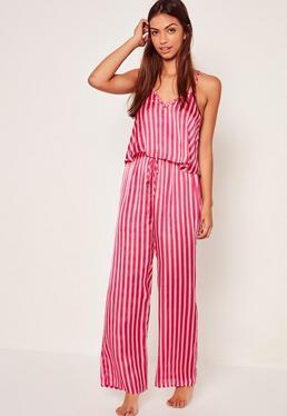 Pink Trim Detail Striped Pyjama Set