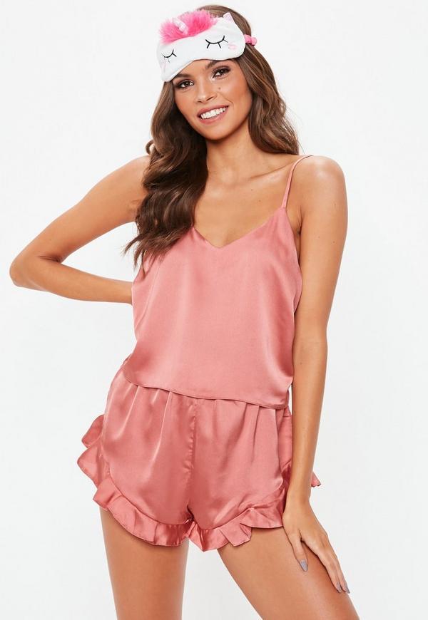 df1ce234affcf Pink Satin Cami Frill Short Pyjama Set
