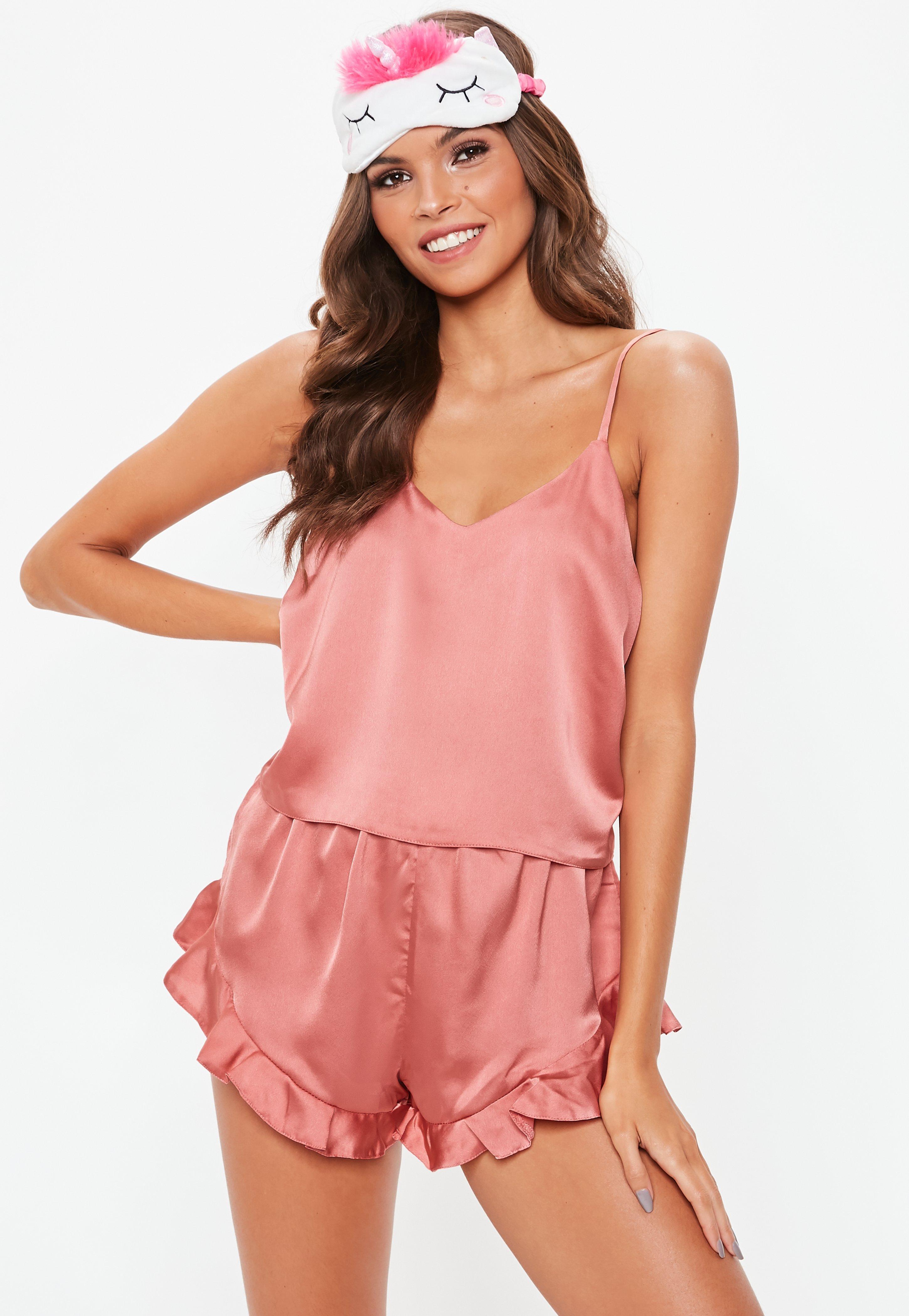prix réduit vente moins chère dernières conceptions diversifiées Pyjama caraco court rose