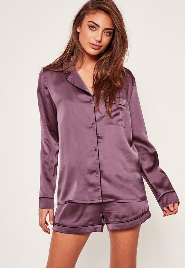 Purple Piping Detail Pyjama Set