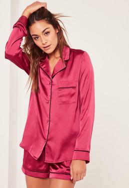 Pink Piping Detail Pyjama Set