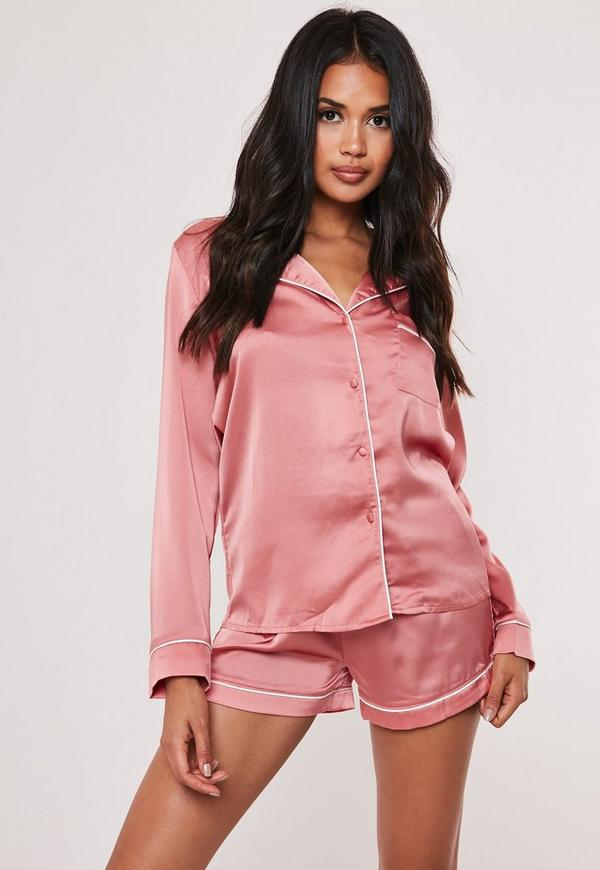 Piping Detail Short Pyjama Set Pink Missguided