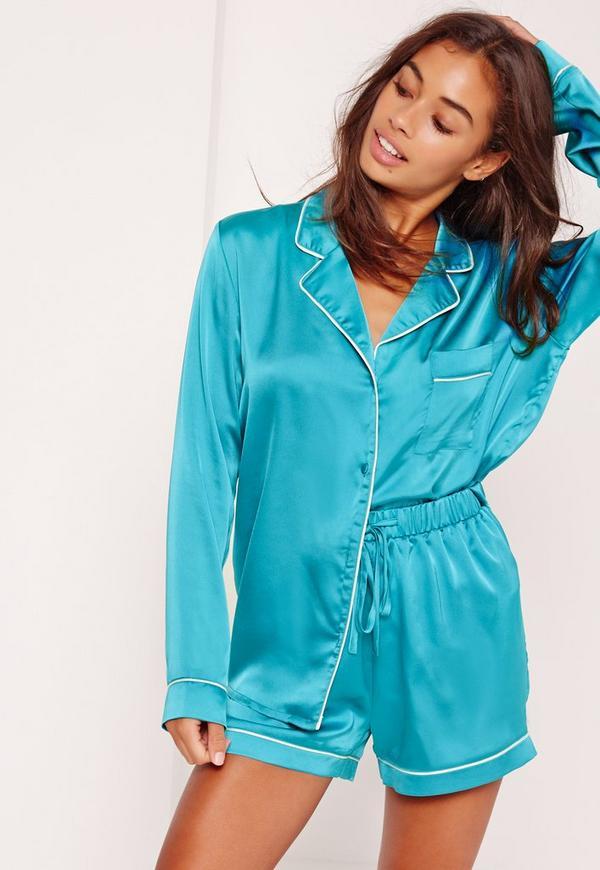 Piping Detail Short Pyjama Set Turquoise
