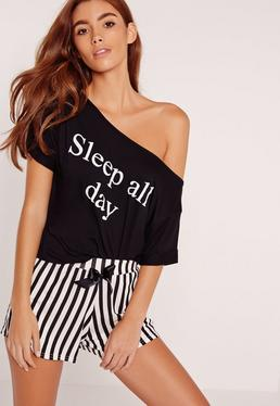 Sleep All Day Stripe PJ Set Monochrome