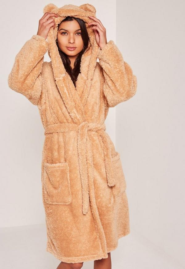Brown Soft Fleece Teddy Dressing Gown
