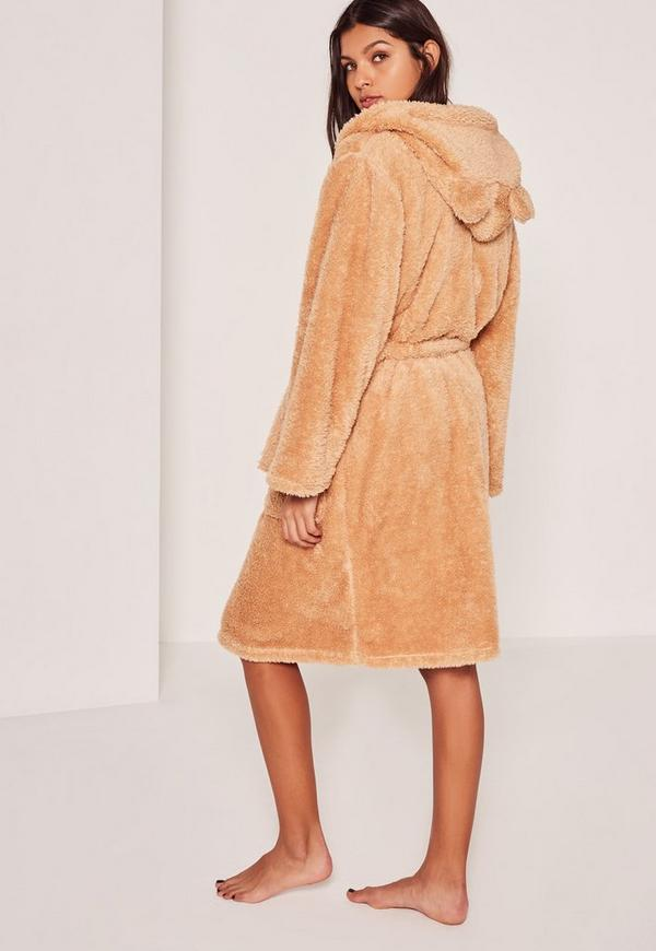 Brown Soft Fleece Teddy Dressing Gown | Missguided
